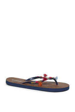 dfb344674d4bd LUNA BLU by Westside Navy Bead Detailed Flip-Flops