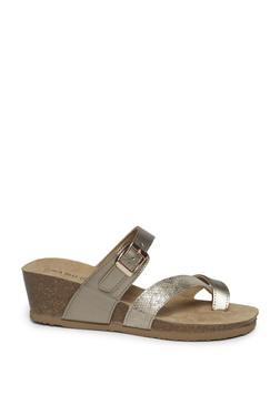 2e04910cd58d5 LUNA BLU by Westside Gunmetal Cork Textured Wedge Heel Sandals