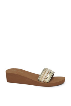 1aa23e93a2a LUNA BLU by Westside Brown Wedge Heel Slides