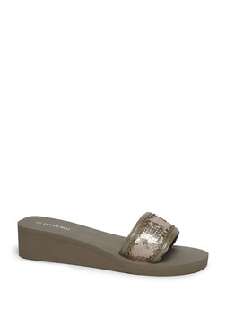 6131e3795999 LUNA BLU by Westside Rose Gold Sequin Detailed Wedge Heel Slides