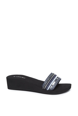 314e3d196566 LUNA BLU by Westside Black Wedge Heel Slides