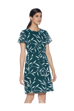 9cf4b18876 Wardrobe by Westside Teal Leaf Print Tiara Dress With Belt