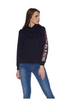 46944d323d76 Zudio Navy Text Print Hooded Sweatshirt