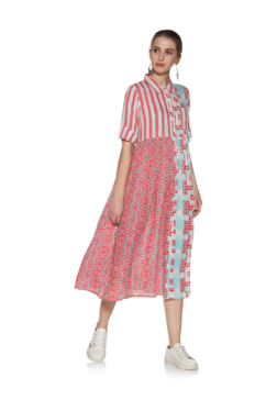 a3684b5356cb56 Zudio Coral Abstract Print Shirtdress