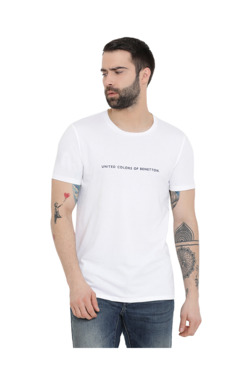 5b5a8474199 United Colors of Benetton White Round Neck T-Shirt