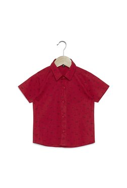 Zudio Kids Red Printed Pure Cotton Shirt c48db2429