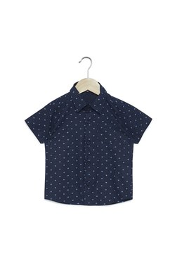 460fe1570e5 Zudio Kids Navy Diamond Print Pure Cotton Shirt