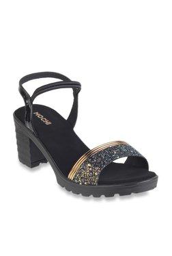 4fdff9ba7a0 Mochi Black Sling Back Sandals