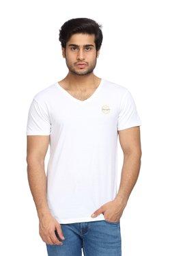 74893c55111 Wrangler White Slim Fit V-Neck Cotton T-Shirt