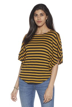 9f1c89cd52e LOV by Westside Mustard Stripe Pattern Zelma Top