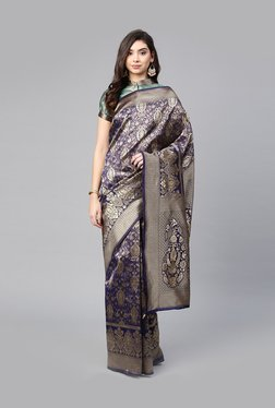 6bf2f93cc3e3c1 Inddus Navy Woven Pattern Saree With Blouse