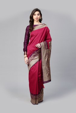 677273426bccb6 Inddus Pink Woven Pattern Saree With Blouse