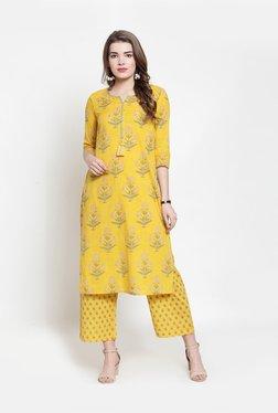 94810a51f9f Varanga Yellow Cotton Floral Print Kurti Palazzo Set