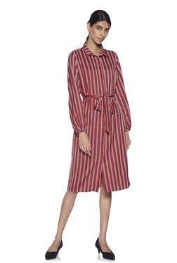 e37d941598 Wardrobe by Westside Red Striped Rehana Shirtdress With Belt