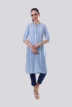 82868683727ca Aurelia Blue   White Cotton Striped Straight Kurti