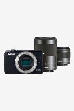 Canon EOS M100 (EF-M55-200/M15-45mm Lens) DSLR Camera + Memory Card + Camera Bag (Black)