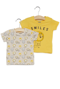 59a932aa6 Baby HOP by Westside Yellow Lion Print T-Shirt Set Of Two
