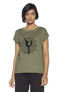 99c143924ee Studiofit by Westside Olive Melange Graphic Printed T-Shirt