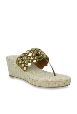 ef1075c0ef98 Inc.5 Antique Gold T-Strap Wedges