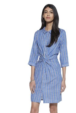 f23da0aa010e LOV by Westside Blue Stripe Print Taylor Shirtdress