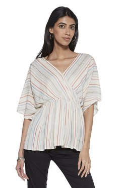 1af13133621360 LOV by Westside Off-White Stripe Print Florence Top
