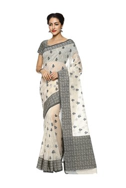 b8c3cbe628f7a Soch Off-White Cotton Embroidered Saree With Blouse
