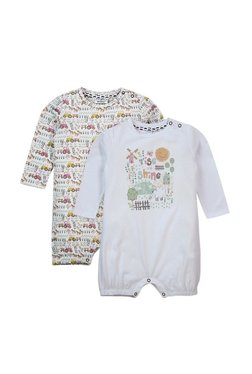 Quancious Kids White Printed Rompers (Pack of 2)