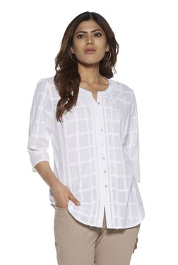 46155e7b50 Gia curve by Westside White Zennie Checkered Blouse