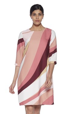 f4df65f587 Wardrobe by Westside Multicolor Geometrical Print Ivory Dress