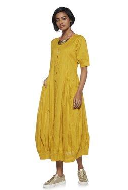 8e6a7deb9036e Bombay Paisley by Westside Mustard Self-Textured Dress