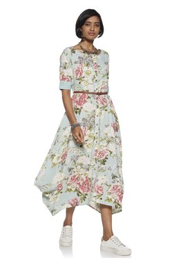dee4910175e Bombay Paisley by Westside Turquoise Dress With Belt