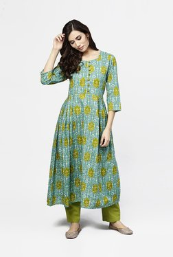 8fad1c41f2dd1 Aasi - House of Nayo Green Cotton Printed A Line Kurti