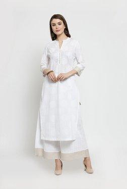 708eaf4c51eaf4 Varanga White Cotton Printed Kurti Palazzo Set