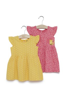 3a6b881d6e7 Baby HOP by Westside Mustard Printed Dress Set Of Two