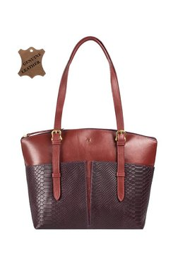 3c99935e3de0 Hidesign Virgo 01 Sb Aubergine Purple   Brown Leather Shoulder Handbag