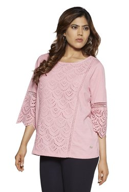 1da632b07d Gia Curve by Westside Pink Cut-Work Detailed Zenith Top