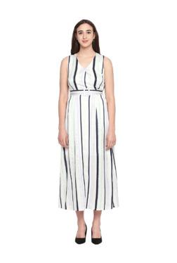 fba5139f55b Forever Glam by Pantaloons White Striped Midi Dress