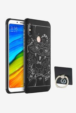 BRAIN FREEZER J Luxury Dragon Pattern Cover for Xiaomi Redmi Note 5 Pro With Ring Holder (Black)