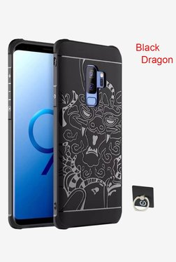 BRAIN FREEZER J Luxury Dragon Pattern Cover for Samsung Galaxy S9 Plus With Ring Holder (Black)
