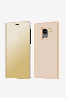 BRAIN FREEZER J Smart View Semi Clear Mirror Flip With Stand Cover Case For Samsung A8 Plus (Gold)