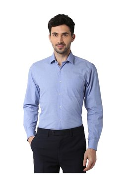 9177dce24f2 Peter England Blue Regular Fit Cotton Shirt