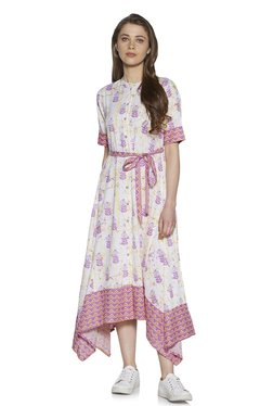 723d03103f13 Zudio Purple Plant Print Fit and Flare Dress With Belt