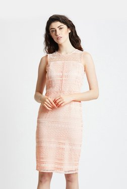 ae43913367d Cover Story Peach Cotton Lace Pattern Dress