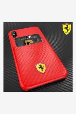Ferrari SP America Series inbuilt Credit Card Holder Back Cover For Apple iPhone X (Red)