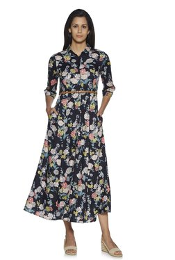 09ceb7902 LOV by Westside Navy Floral Anja Shirtdress With Belt