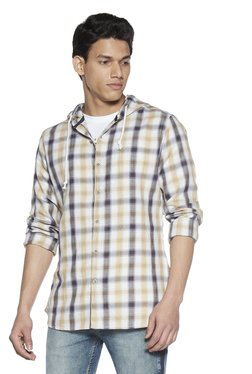ab544a0573d Zudio Beige Checkered Hooded Slim Fit Shirt