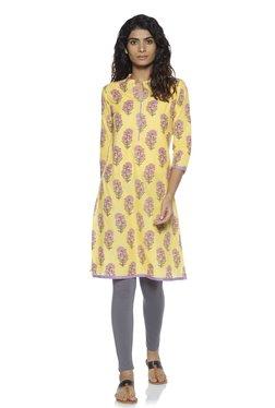 f81d8cfdeb Zudio Yellow Floral Print Pure Cotton A-Line Kurta