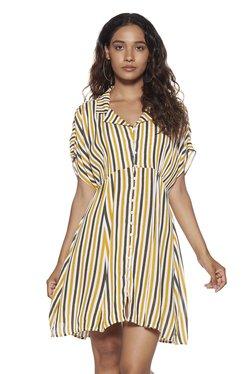 7bab1575e3d Nuon by Westside Mustard Striped Irene Dress