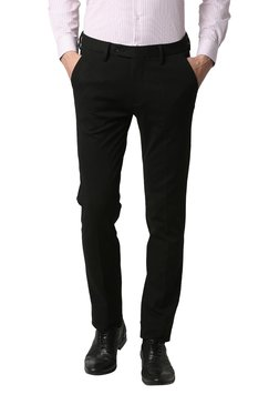 6fdd8d0ffb4 Peter England Black Mid Rise Slim Fit Solid Trousers