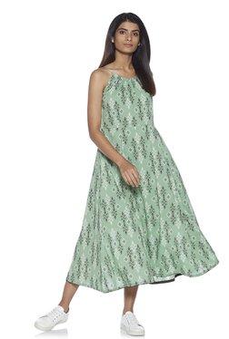 09519310a Zudio Green Fit and Flare Geometrical Print Maxi Dress